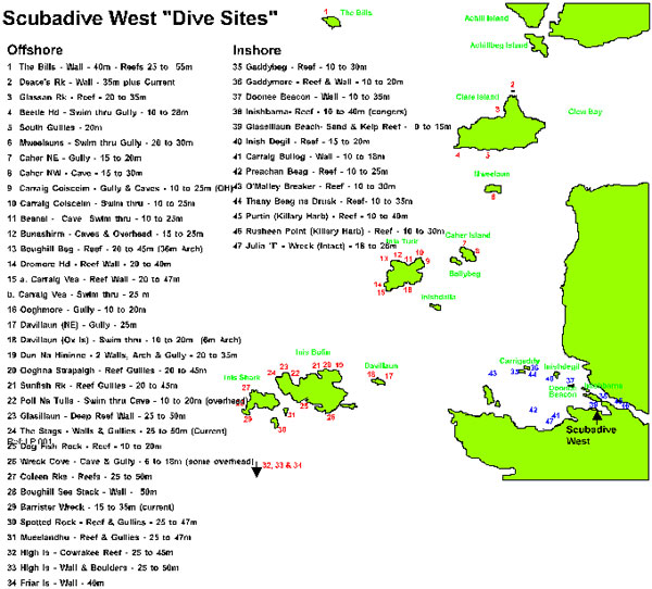 Dive sites in Galway, Ireland.